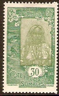 French Somali Coast 1925 30c Olive-green and green. SG218.