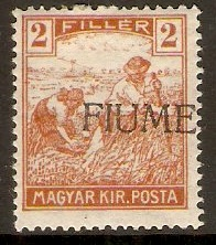 Fiume 1918 2f Yellow-brown. SG1.