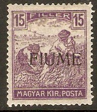 Fiume 1918 15f Violet. SG7.