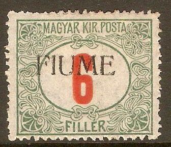 Fiume 1918 6f Red and green - Postage Due. SGD35.