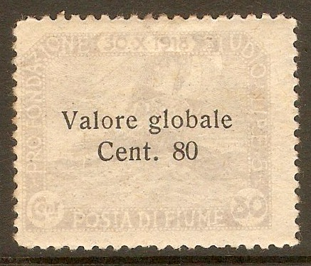 Fiume 1919 80c on 80c Pale violet. SG111.