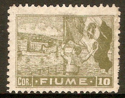Fiume 1919 10cor Olive-green. SG51.