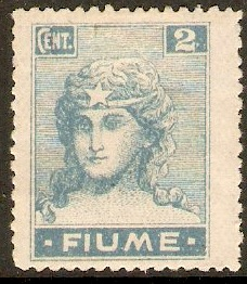 Fiume 1919 2c Light blue. SG52.