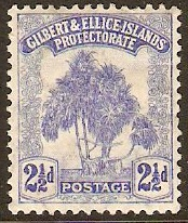 Gilbert and Ellice 1911 2½d Blue. SG11.