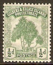 Gilbert and Ellice 1911 ½d Green. SG8.