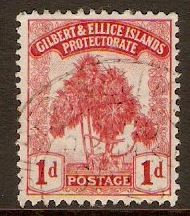 Gilbert and Ellice Islands 1911 1d Carmine. SG9.