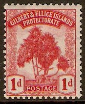 Gilbert and Ellice 1911 1d Carmine. SG9.
