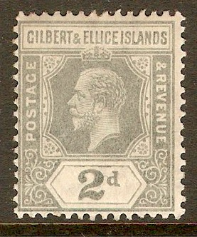Gilbert and Ellice 1912 2d Greyish slate. SG14.