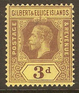 Gilbert and Ellice 1912 3d Purple on yellow. SG16.