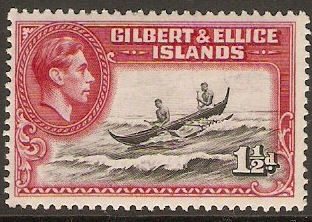 Gilbert and Ellice 1939 1½d Brn.-black and bright carmine. SG45.