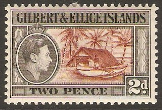 Gilbert and Ellice 1939 2d Red-brown and grey-black. SG46.