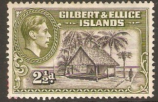 Gilbert and Ellice 1939 2½d Brownish-black and deep olive. SG47.