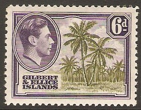 Gilbert and Ellice 1939 6d Olive green and deep violet. SG50.