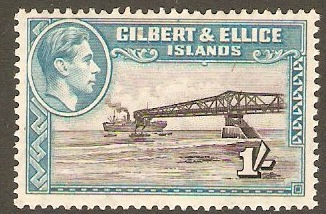 Gilbert and Ellice 1939 1s Brownish-black and turq. green. SG51.