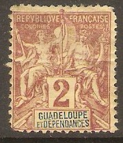 Guadeloupe 1892 2c Brown on buff. SG35.