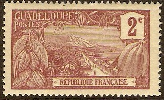 Guadeloupe 1905 2c Purple-brown on straw. SG62.