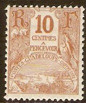 Guadeloupe 1905 10c Brown. SGD64.