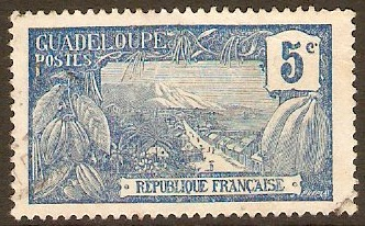 Guadeloupe 1922 5c Blue. SG83.