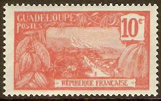 Guadeloupe 1922 10c Scarlet on azure. SG85.