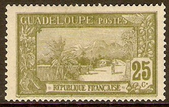 Guadeloupe 1922 25c Sage-green. SG87.
