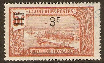 Guadeloupe 1924 3f on 5f Red-brown. SG102.