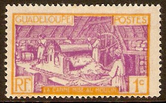 Guadeloupe 1928 1c mauve and yellow. SG105.