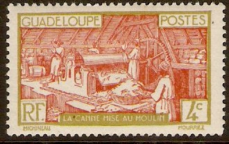 Guadeloupe 1928 4c Chestnut and yellow-olive. SG108.