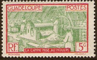 Guadeloupe 1928 5c Green and scarlet. SG109.