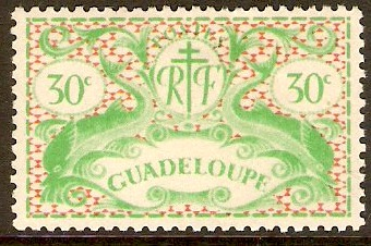 Guadeloupe 1945 30c Yellow-green and orange. SG184.