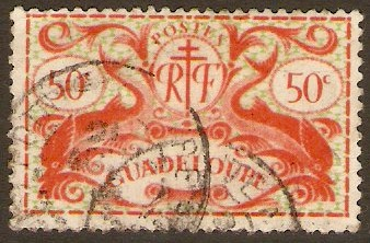 Guadeloupe 1945 50c Orange-red and yellow-green. SG186.