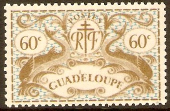 Guadeloupe 1945 60c Olive-grey and blue. SG187.
