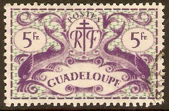 Guadeloupe 1945 5f Violet and green. SG198.