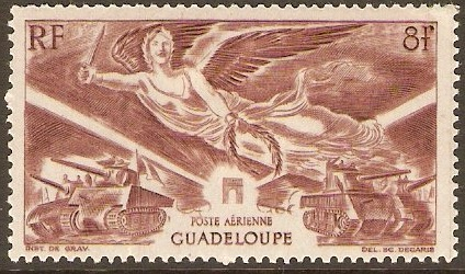 Guadeloupe 1946 8f Red-brown. SG204.