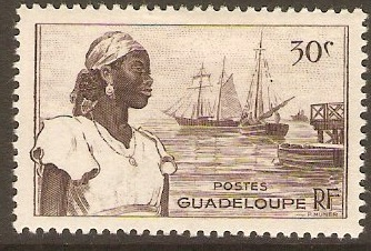 Guadeloupe 1947 30c Blackish brown. SG212.