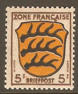 French Zone 1945 5pf Arms series. SGF3