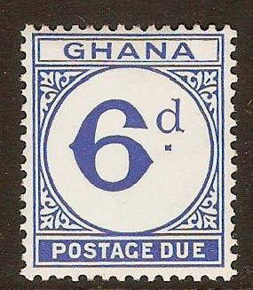 Ghana 1958 6d Bright ultramarine - Postage Due. SGD17.