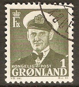 Greenland 1950 1ore Sage-green. SG26.