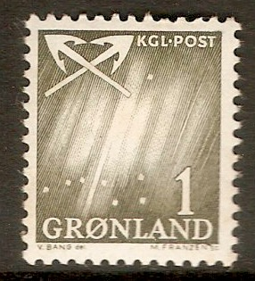 Greenland 1963 1ore Bronze-green - Northern Lights series. SG48.