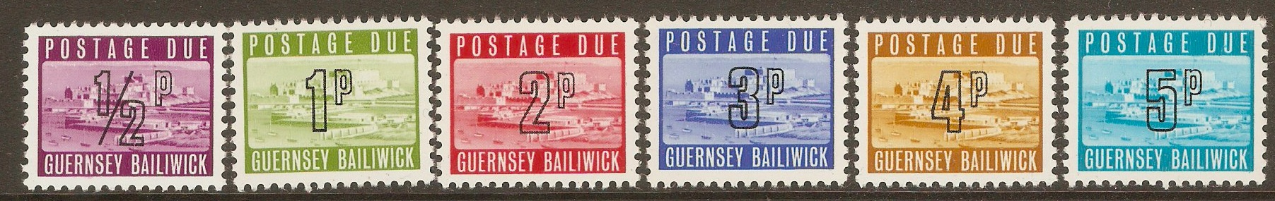 Guernsey 1971 Postage due - Low value sequence. SGD8-SGD13.