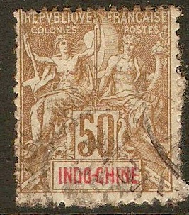 Indo-China 1900 50c Brown on azure. SG27.