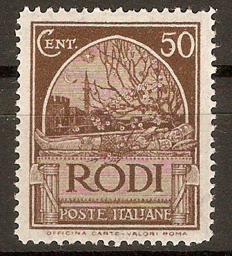 Rhodes 1929 50c Chocolate. SG22B.