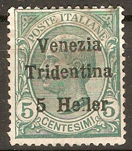 Trentino 1919 5h on 5c Green. SG28.