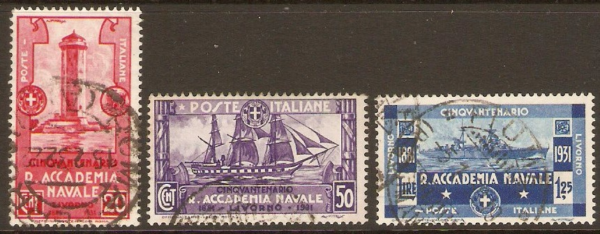 Italy 1930 1l.25 Naval Academy Anniversary Set. SG311-SG313.