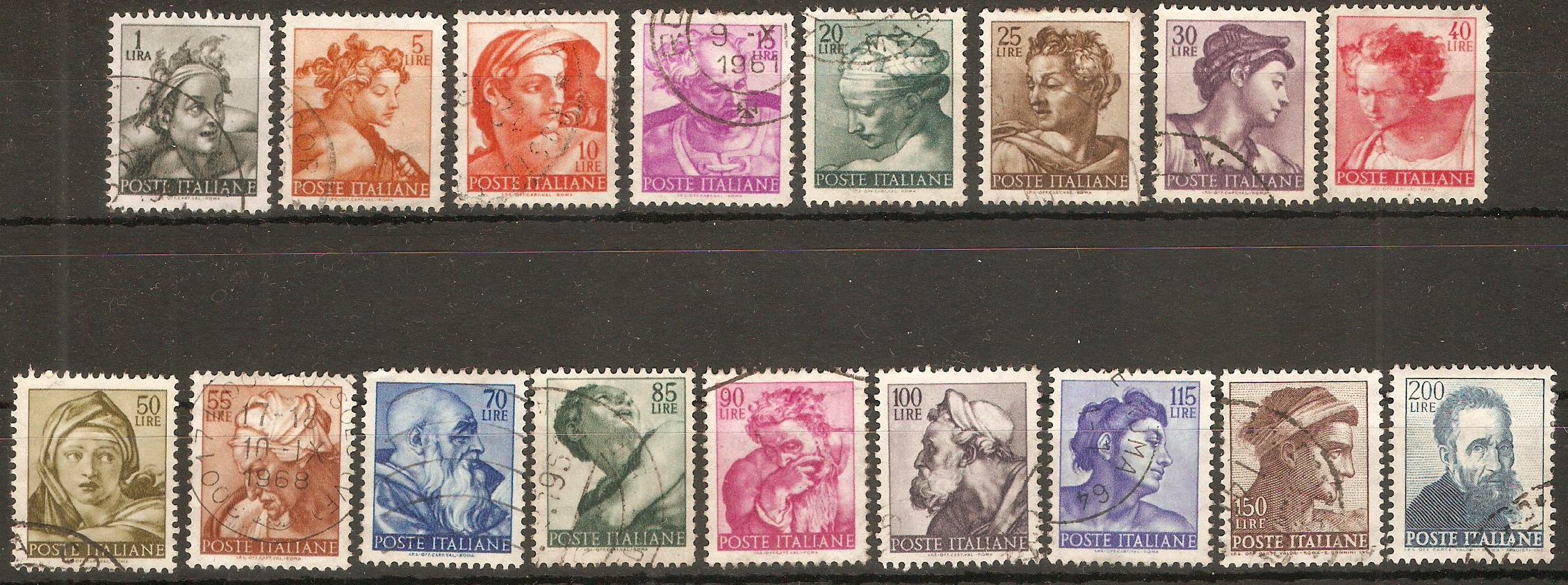 Italy 1961 Works of Michelangelo set. SG1034-SG1050.