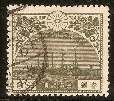 Japan 1921 3s Olive - Return of Crown Prince series. SG207.