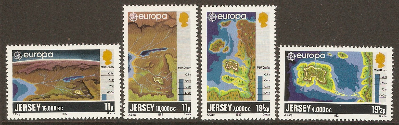 Jersey 1982 Europa - Formation of Jersey set. SG289-SG292.