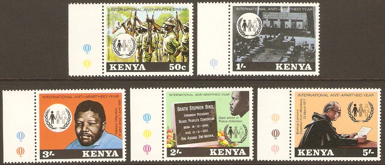 Kenya 1978 Anti-Apartheid Set. SG142-SG146.
