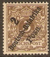 German East Africa 1896 2p on 3pf Bistre-brown. SG8.