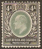East Africa and Uganda 1904 4a Grey-green and black. SG23.