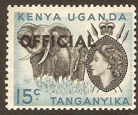 Kenya, Uganda and Tanganyika 1959 15c Black and light blue. SGO3